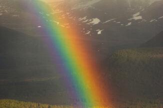 Cairngorms rainbow during violent storm