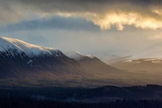 Golden light across Glenfeshie after a snowstorm