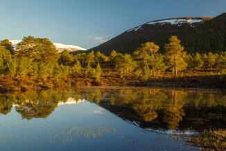 Sunset on Braeriach reflected in a small loch