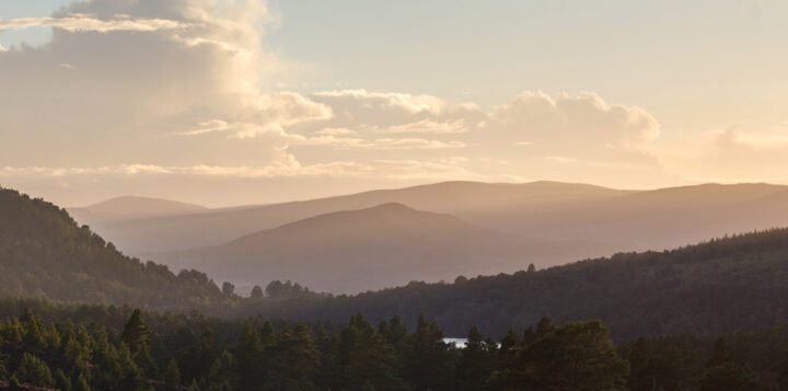 Sunset rays across Monadliath Hills,Cairngorms National Park, Scotland