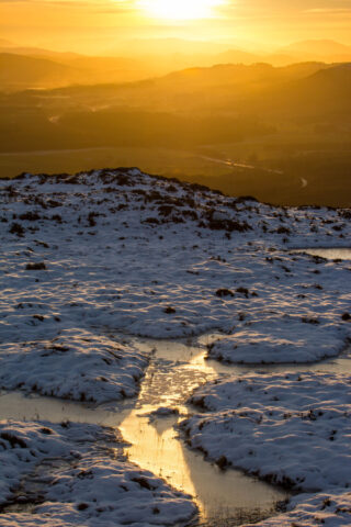 Looking south from craigellachie towards sunset glow, winter