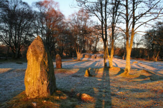 Clava midwinter solstice sunset, near Inverness, Scottish Highlands