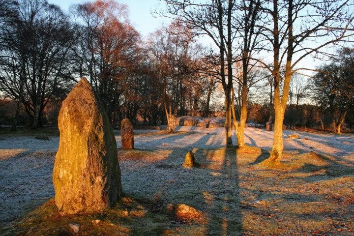 Clava midwinter solstice sunset, near Inverness, Scottish Highlands