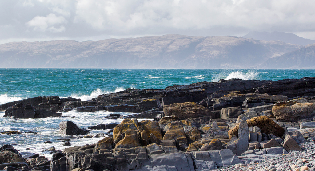 Mull as seen from Easdale island, on the west coast of Scotland