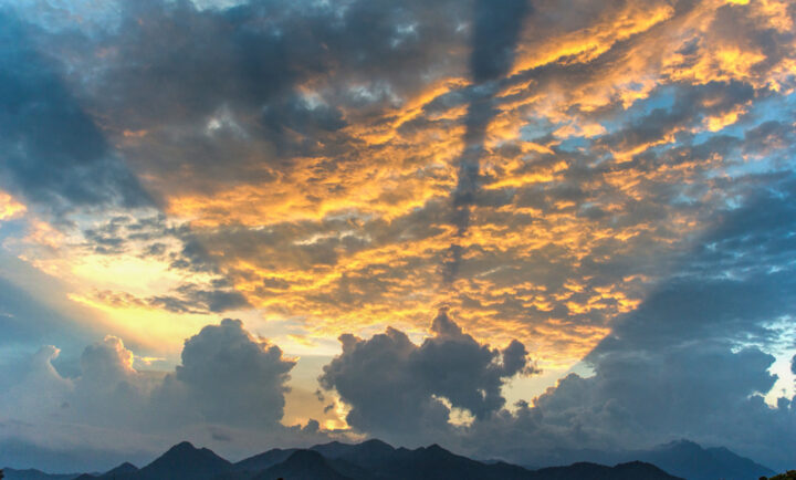 Sunset over the Sierra Nevada foothills, from Valledupar, Colombia