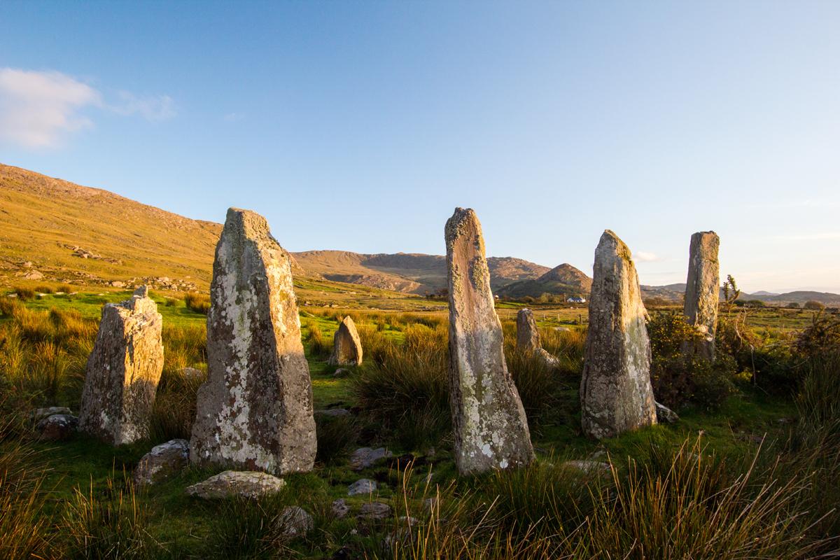 Stone circle at sunset, Beara peninsula